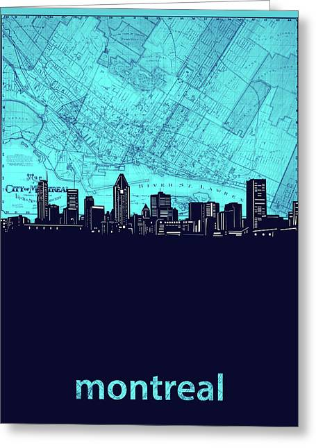 Montreal Skyline Map Turquoise Greeting Card