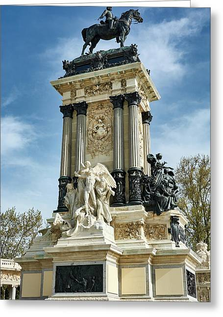 Monument To King Alfonso Xii At Retiro Park In Madrid, Spain Greeting Card