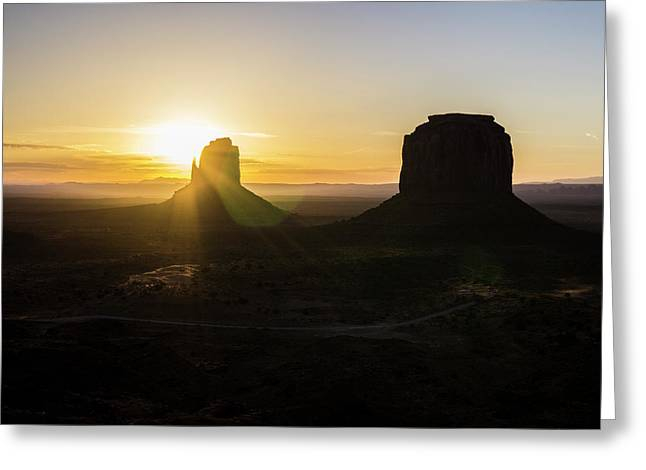 Greeting Card featuring the photograph Monument Valley Xviii Sunrise Color by David Gordon