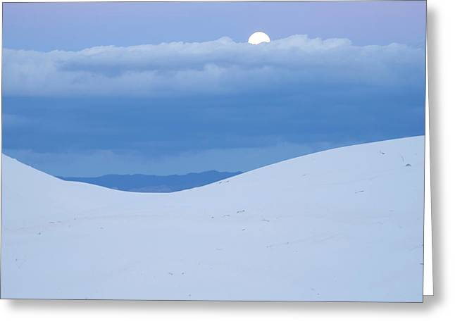 Moon And Dune, White Sands Nm, New Greeting Card