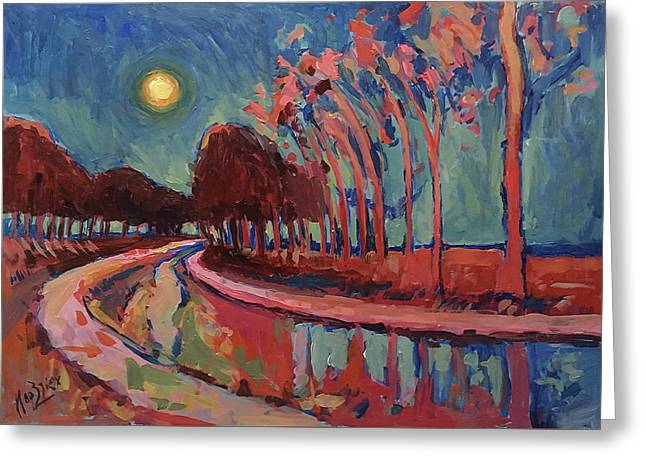 Moon Night At The Canal Greeting Card