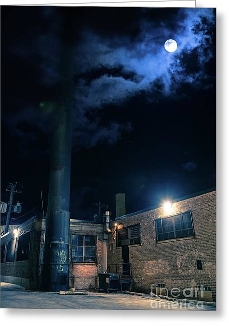 Moon Over Industrial Chicago Alley Greeting Card