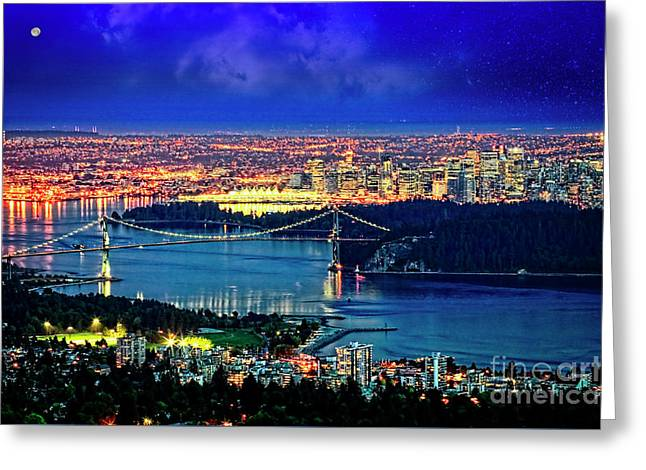 Greeting Card featuring the photograph Moon Over Vancouver by Scott Kemper