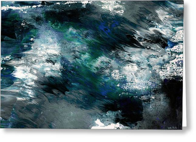 Moonlight Ocean- Abstract Art By Linda Woods Greeting Card