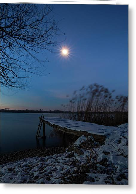 Moonlight Over The Lake Greeting Card