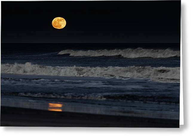 Moonrise Over Assateague Island Beach Greeting Card
