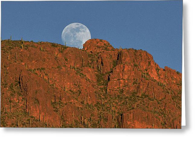 Moonrise Over The Tucson Mountains Greeting Card