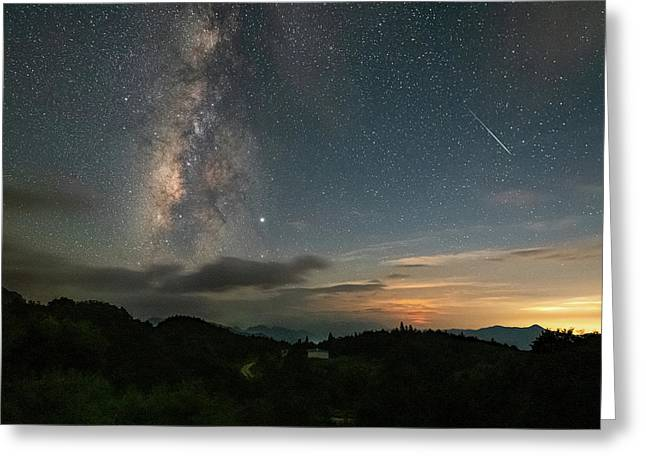 Moonset Milky Way And Shooting Star Greeting Card