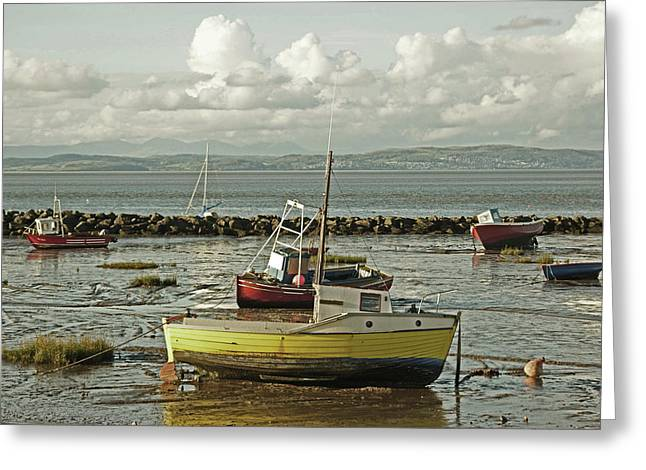 Morecambe. Boats On The Shore. Greeting Card