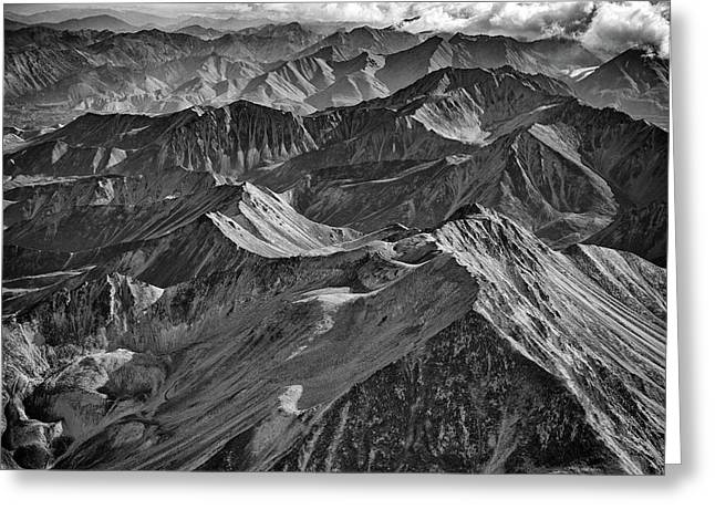Morning On The Alaska Range Black And White Greeting Card