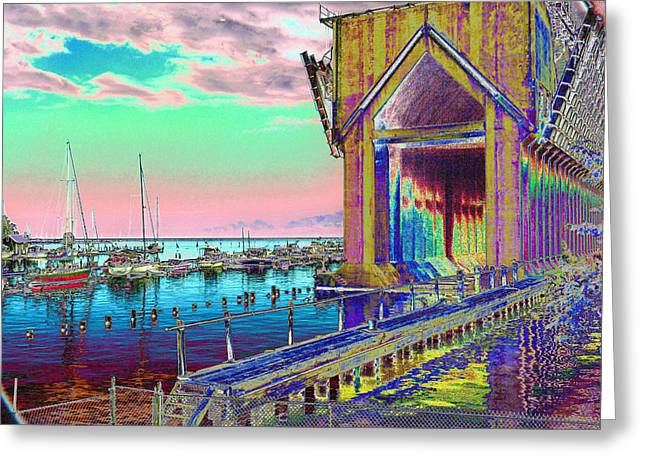 Morning Pink Marquette Ore Dock Greeting Card