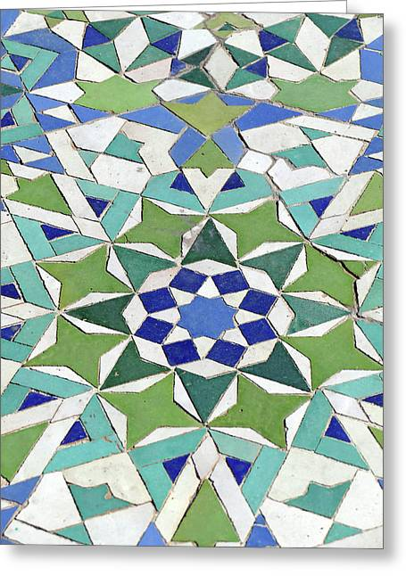 Mosaic Exterior Decorations Of The Hassan II Mosque Greeting Card