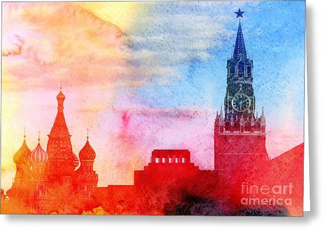 Moscow Kremlin, Lenin Mausoleum And St Greeting Card