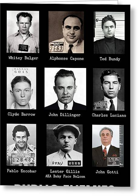 Most Wanted - Crime Public Enemies Greeting Card
