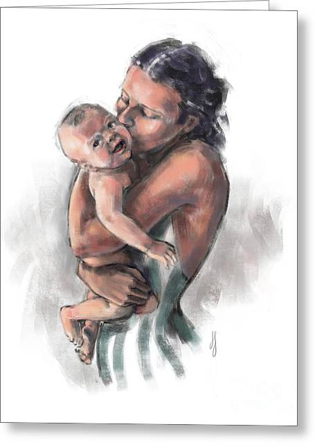 Greeting Card featuring the painting Mother And Child by Lora Serra