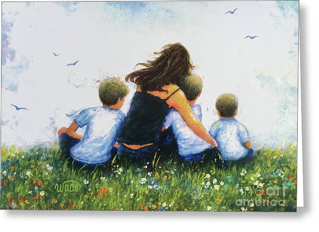 Mother And Three Sons Hugging Blonde Boys Greeting Card