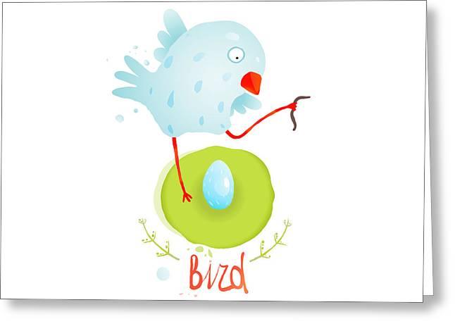 Mother Bird In Nest Feeding Egg Greeting Card