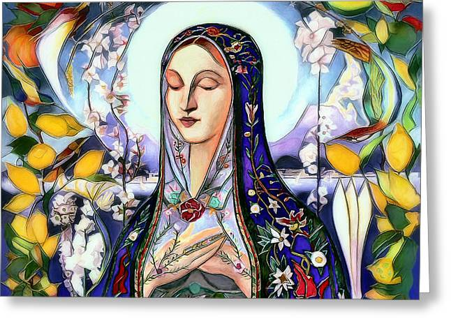 Greeting Card featuring the digital art Mother Mary by Pennie McCracken