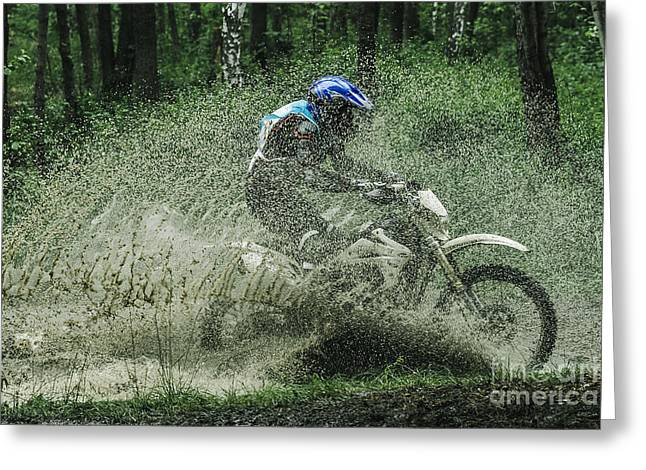 Motocross Driver Under The Spray Of Mud Greeting Card