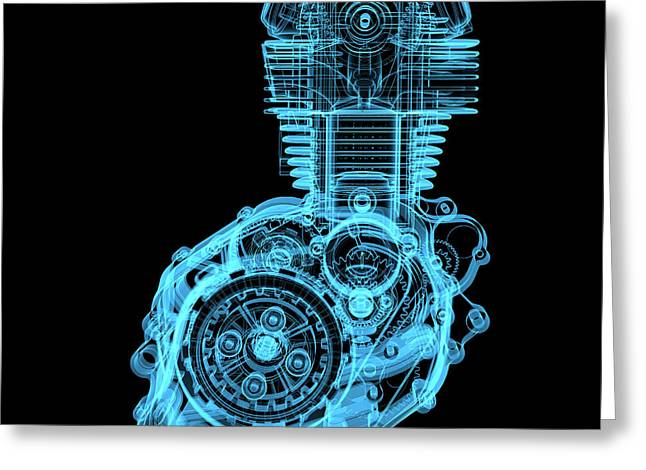 Motocycle Engine 3d X-ray Blue Greeting Card