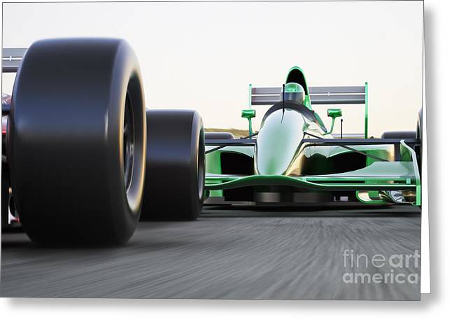 Motor Sports Race Car Competitive Close Greeting Card