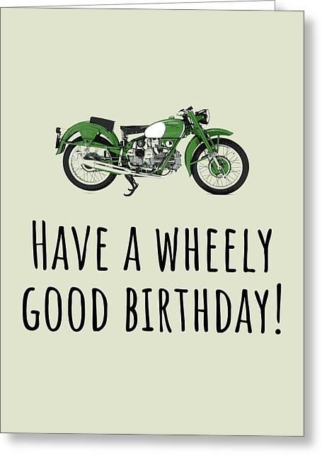 Motorcycle Birthday Card - Biker Birthday Card - Motorist Card - Wheely Good Birthday Greeting Card
