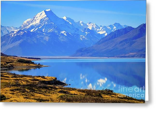 Mount Cook Overlooking Lake Pukaki,  New Zealand Greeting Card