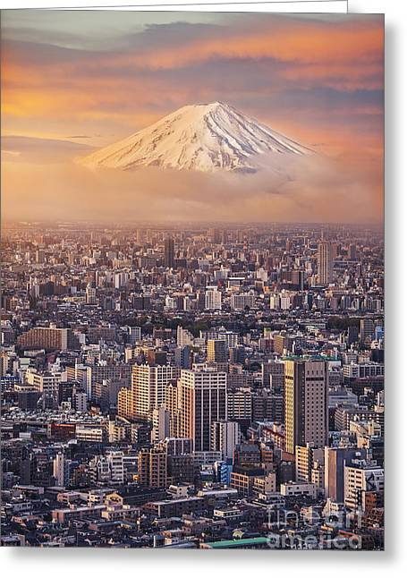 Mount Fuji And Japan Cityscape In Greeting Card