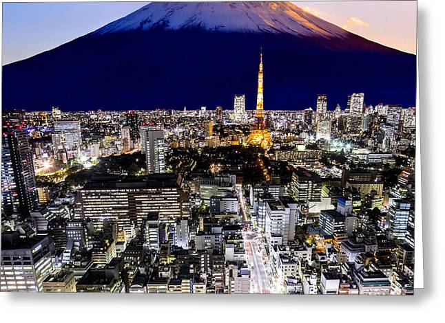 Mount Fuji And Tokyo City In Twilight Greeting Card