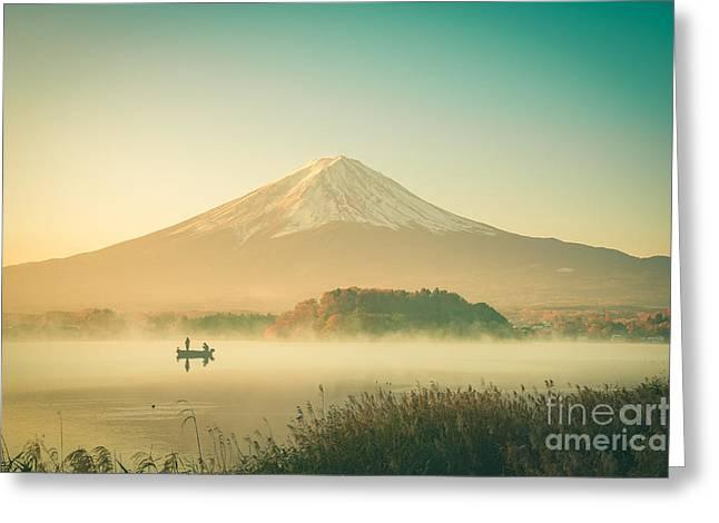 Mount Fuji Landscape In Japan Vintage Greeting Card