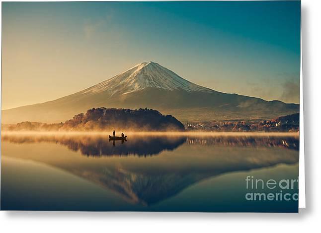 Mount Fuji San At Lake Kawaguchiko In Greeting Card