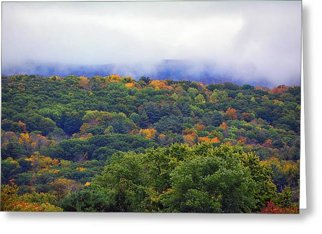 Greeting Card featuring the photograph Mount Greylock In The Clouds by Raymond Salani III