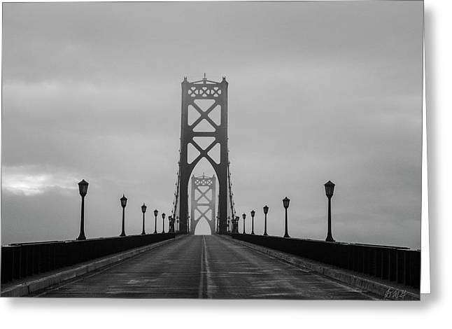 Greeting Card featuring the photograph Mount Hope Bridge II Bw by David Gordon