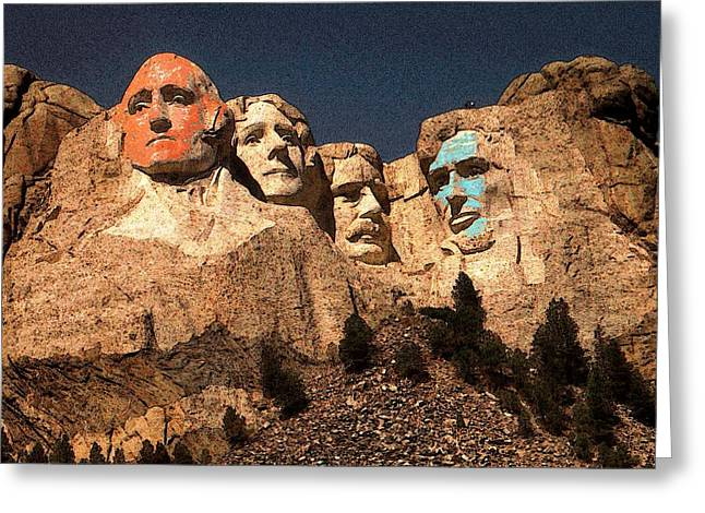 Mount Rushmore Red And Blue Drawing Greeting Card