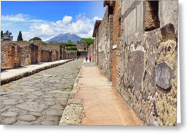 Mount Vesuvius And The Ruins Of Pompeii Italy Greeting Card