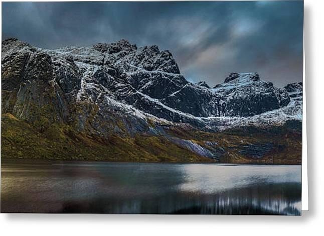Mountain Lake In Norway On Lofoten Near Nusfjord Greeting Card