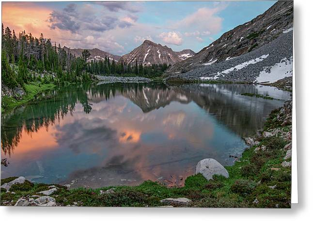 Mountain Lake Sunset Greeting Card by Leland D Howard