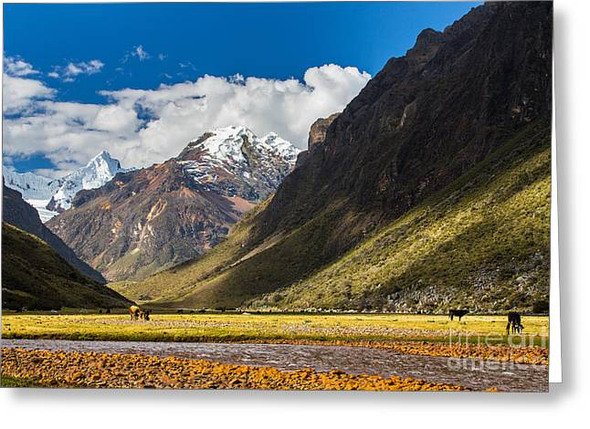Mountain Landscape In The Andes, Peru Greeting Card
