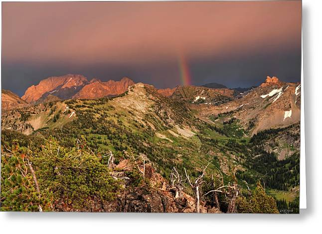 Mountain Light And Rainbow In The Tetons Greeting Card by Leland D Howard