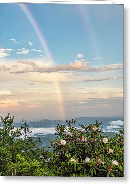 Greeting Card featuring the photograph Mountain Rainbow Vertical by Ken Barrett