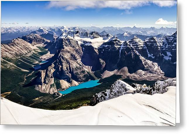 Mountain Range View From Mt Temple With Greeting Card