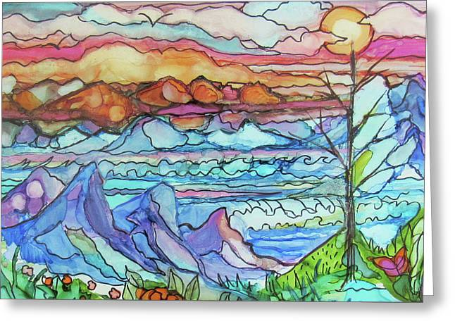 Mountains And Sea Greeting Card