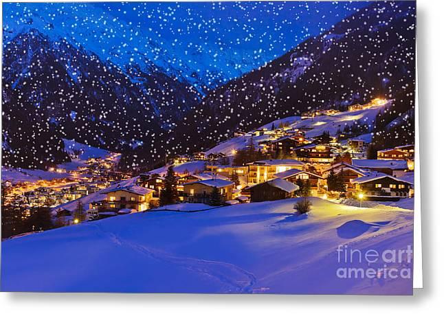 Mountains Ski Resort Solden Austria - Greeting Card