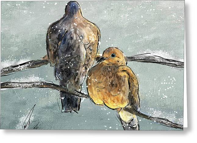 Mourning Doves In A Morning Flurry Greeting Card