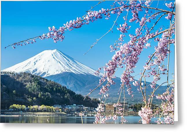 Mt Fuji And Cherry Blossom At Lake Greeting Card