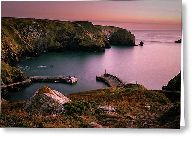 Mullion Cove Sunset - Cornwall General View Greeting Card