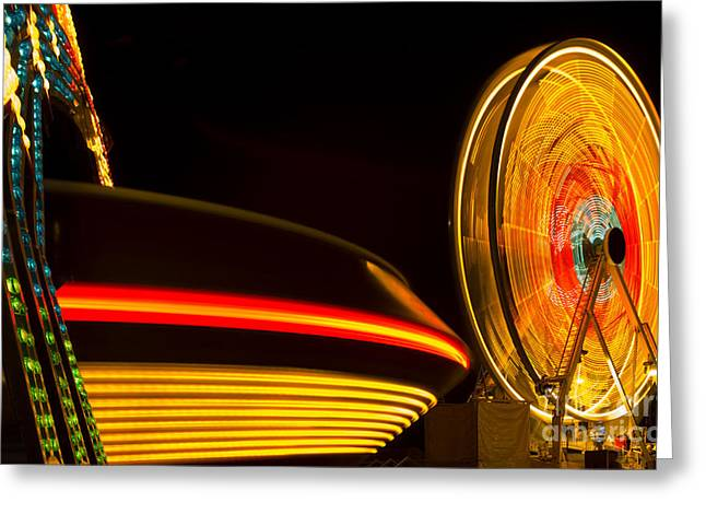 Multicolor Carnival Rides In Motion Greeting Card