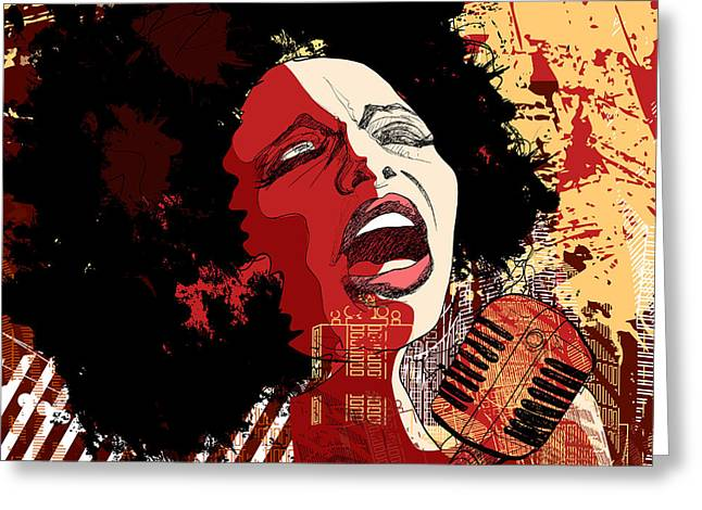 Music Jazz - Afro American Jazz Singer Greeting Card by Isaxar