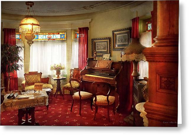 Greeting Card featuring the photograph Music - Organ - In The Parlor by Mike Savad