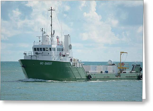 Greeting Card featuring the photograph Mv Go Quest-spacex Support Vessel by Bradford Martin
